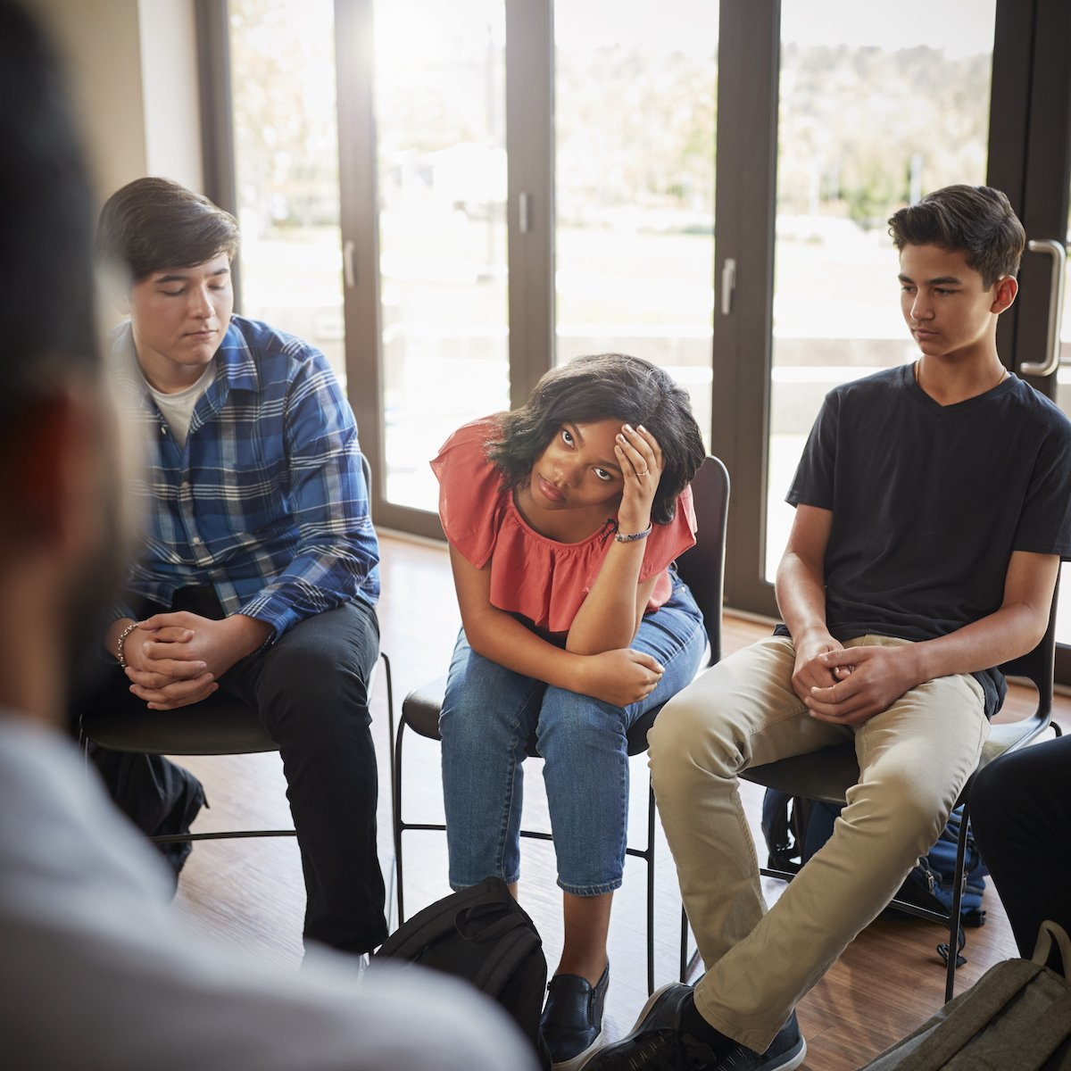 Teens interacting in therapy, New City, NY